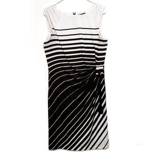 Tahari Brown & White Sleevless Striped Dress